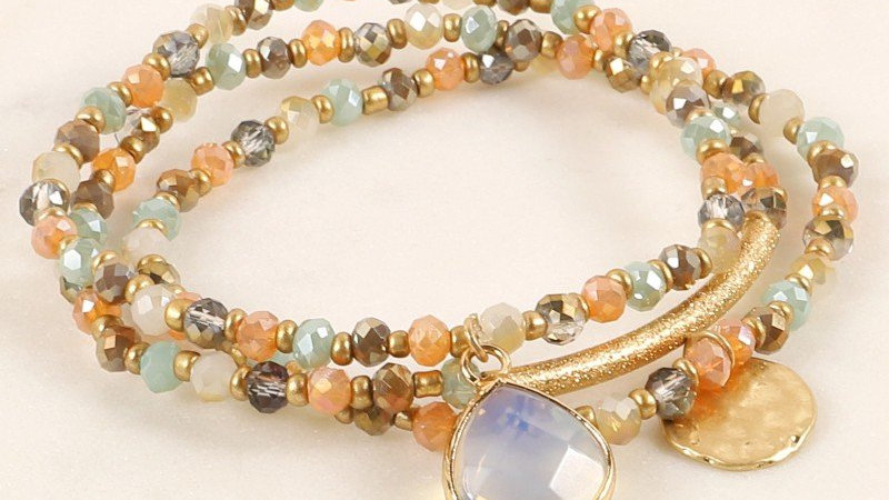 Glass Beaded Natural Stone Bracelet Set