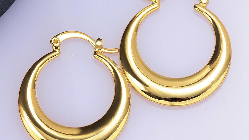 """1.2"""" French Lock Hoop Earring in 18K Gold Plated"""