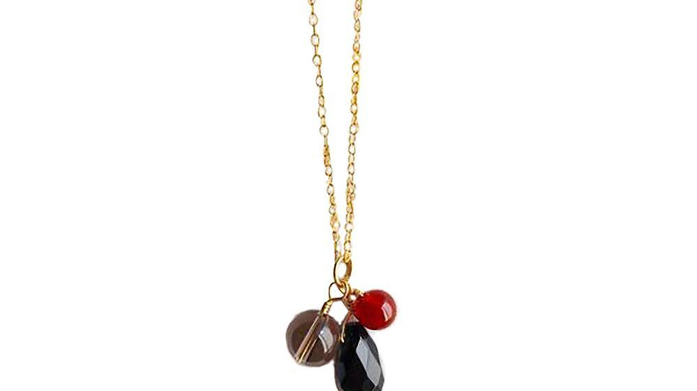 Black Onyx, Carnelian and smoky Quartz Gold Filled Necklace