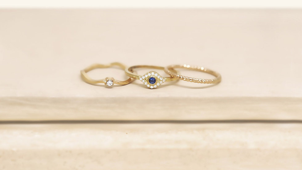 Dainty Crystal Trio 18k Gold Plated Ring Set