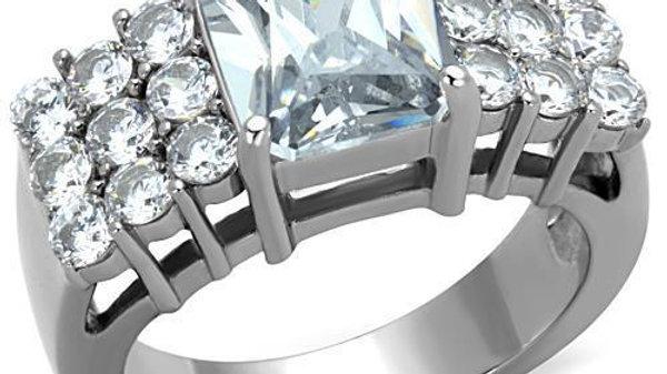 Women Stainless Steel Cubic Zirconia Rings TK1753