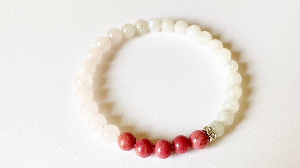 Moonstone, Rhodonite & Rose Quartz Bracelet