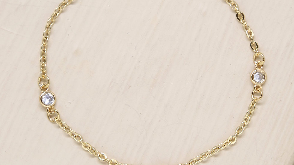 Simple Trinity 18k Gold Plated Crystal Bracelet