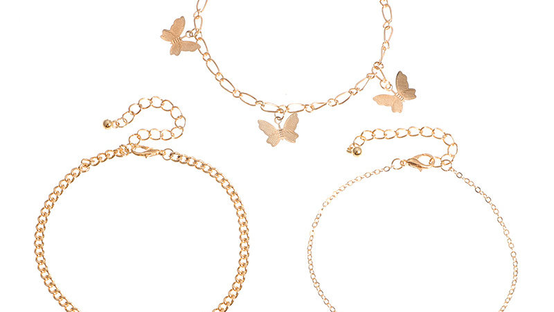 Fashion Multi-Layer Letter Butterfly Anklet 3 Pcs Set Angel Gold