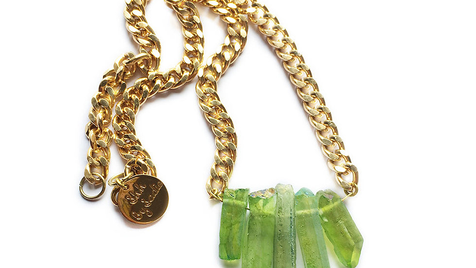 Rocked Up Mini Crystal Quartz Necklace - Green