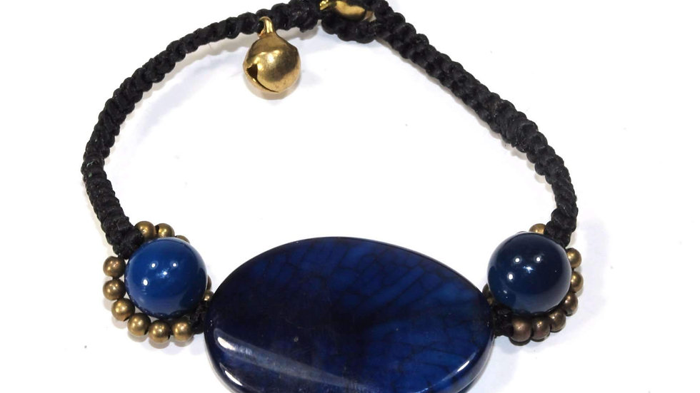 Blue Agate Slice & Rounds Bracelet