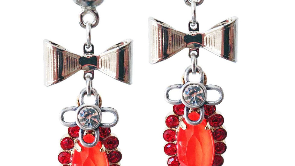 Dangle and Drop Earrings With Orange Crystals