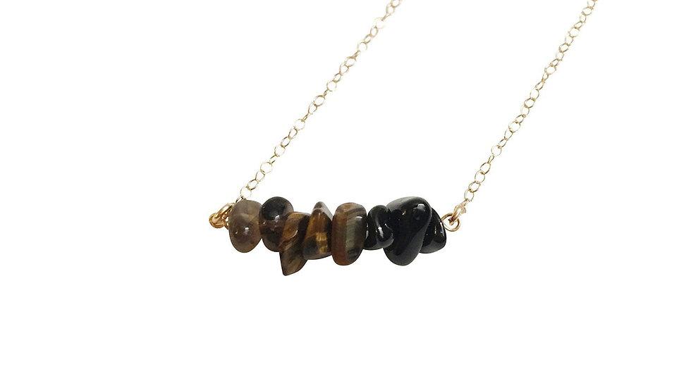 Smoky Quartz, Tiger Eye and Black Onyx Gemstone Necklace