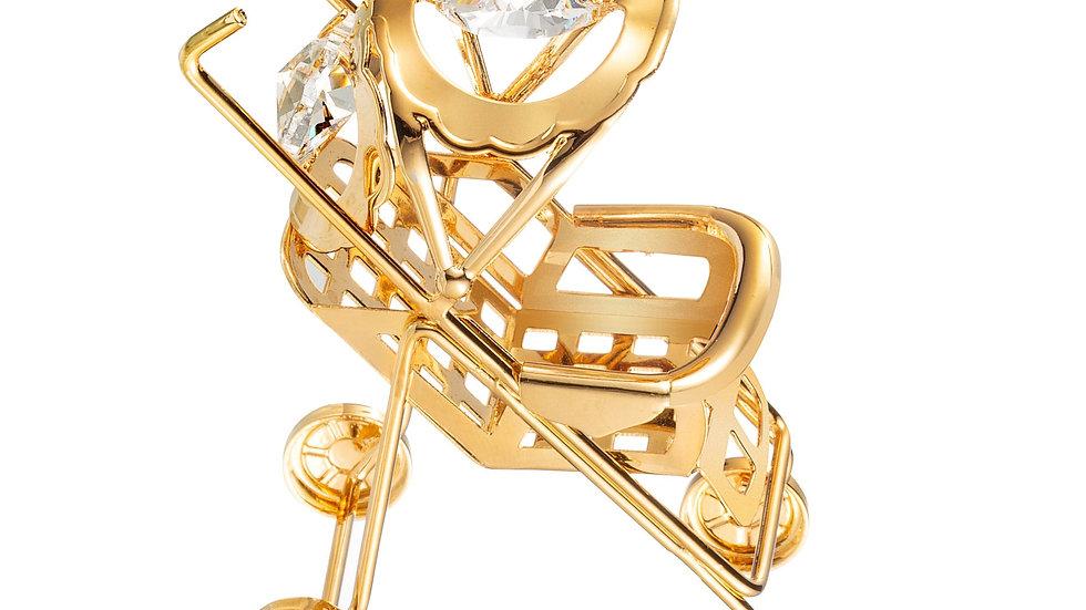 24K gold plated baby stroller with Swarovski