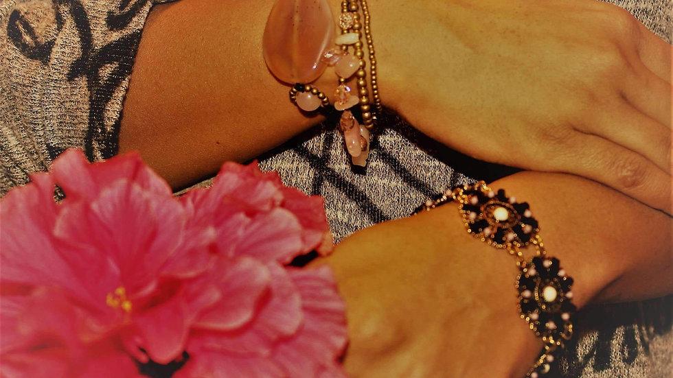 Peach Agate Slice & Rose Quartz Bracelet