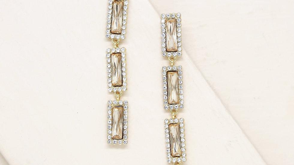 Topaz Gem Drop 18k Gold Plated Earrings