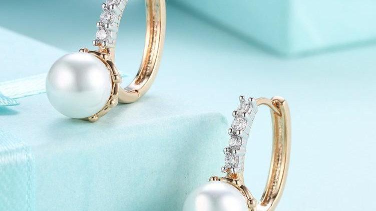 Swarovski Crystal Curved Pav'e Pearl Huggie Earrings Set in 18K Gold