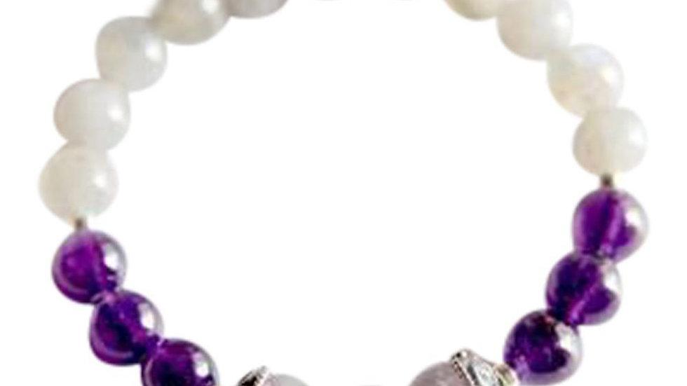 Pisces   Amethyst, Labradorite & Fluorite Sterling Silver Bracelet
