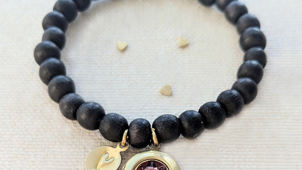 """YOU ARE LOVED"" WOOD BEAD LOCKET BRACELET"