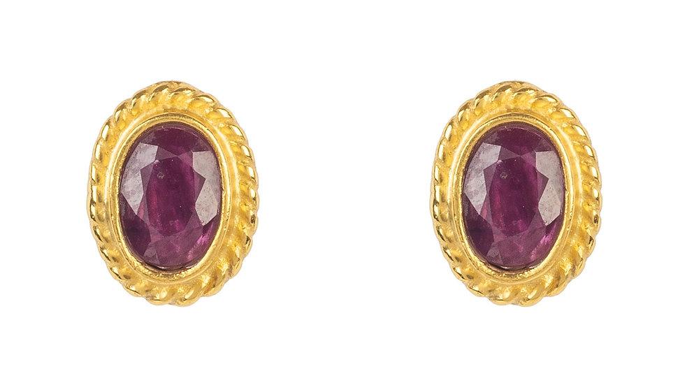 Birthstone Gold Gemstone Stud Earring  July Ruby