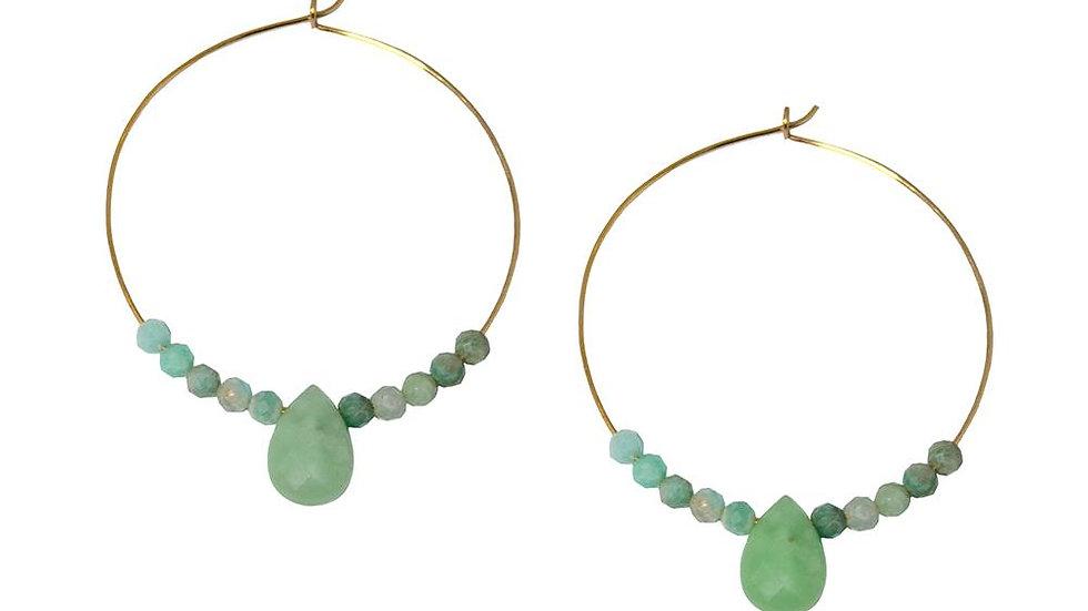 Amazonite Gold Hoop Earrings