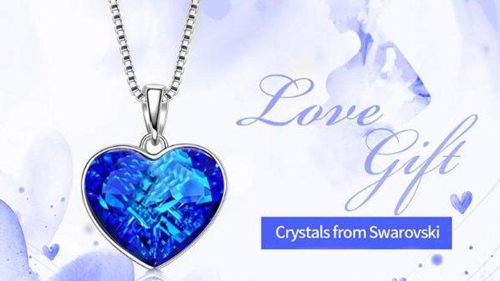 Aruba Blue Swarovski Elements Heart Shaped Necklace in 14K White Gold