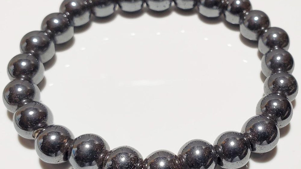 8mm Hematite Beaded Elastic Stretch Bracelet
