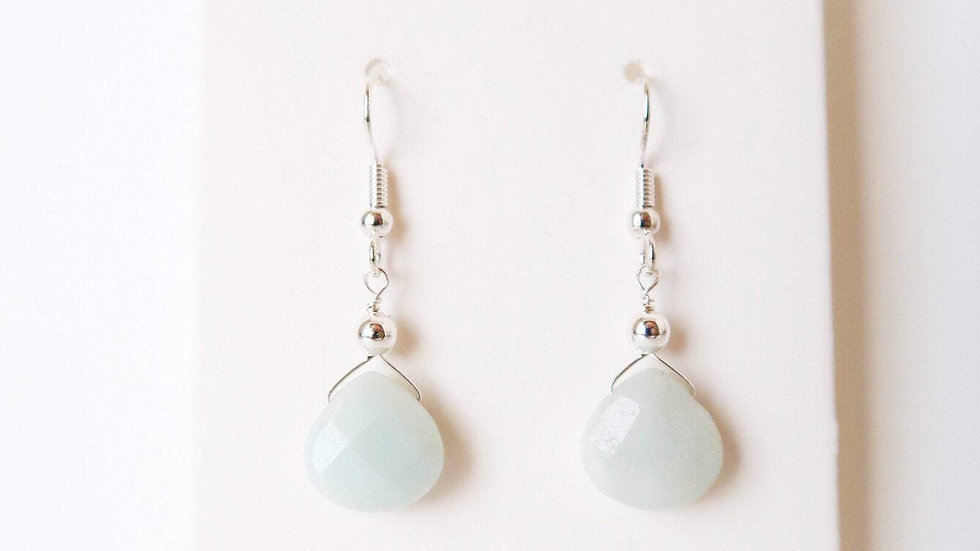 Amazonite Wire Wrapped Drop Earrings