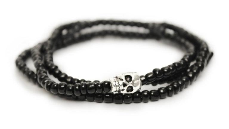 Black & Silver Skull Beaded Wrap Bracelet & Necklace