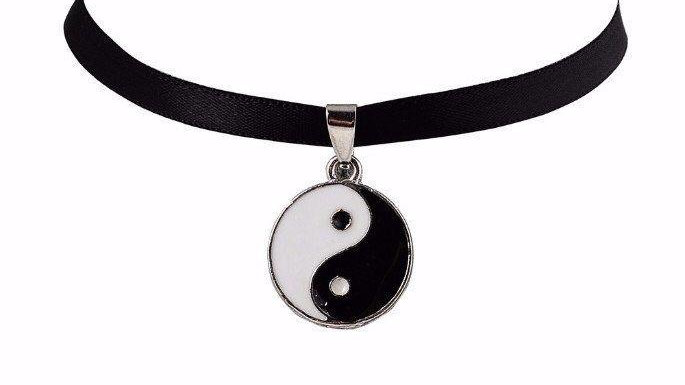 Ying & Yang Black Choker Necklace