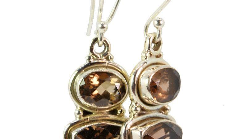 Trillion and Oval Cut Smokey Quartz Earrings