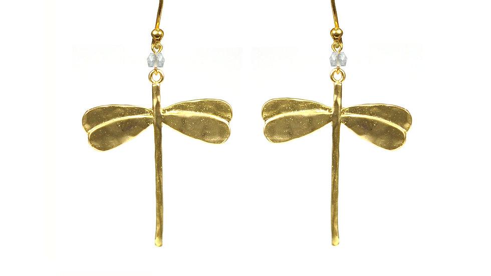 Dragonfly White Topaz Earrings