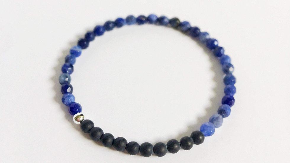 Matte Black Onyx and Sodalite Bracelet