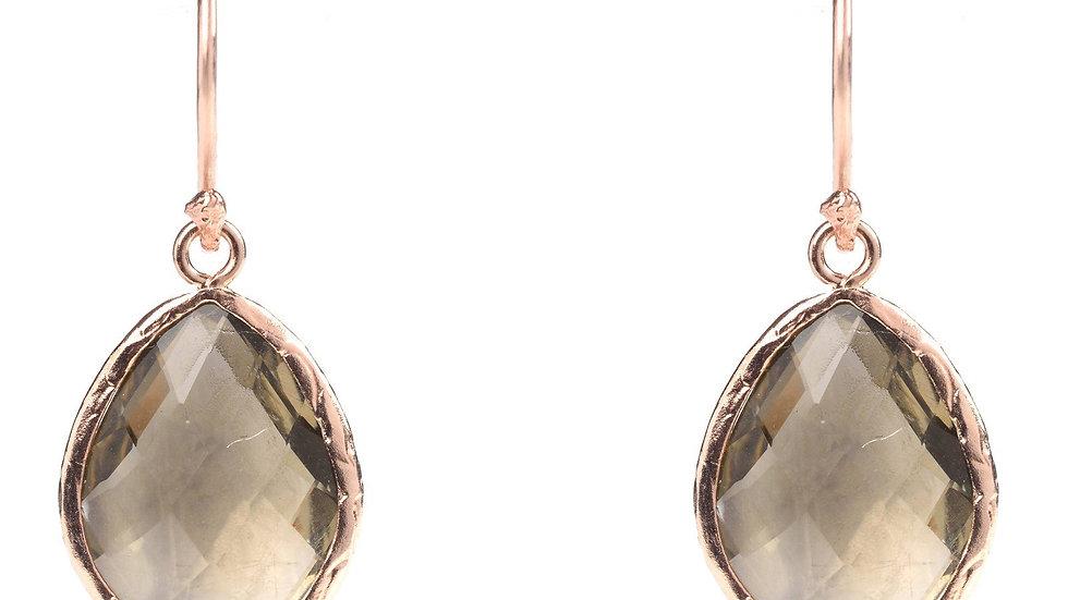 Petite Drop Earring Smokey Quartz Rosegold