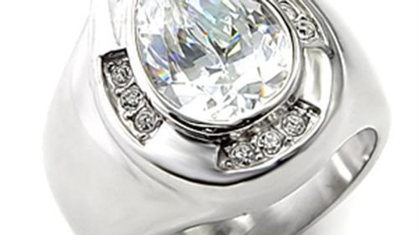 7X236 Rhodium 925 Sterling Silver Ring with AAA