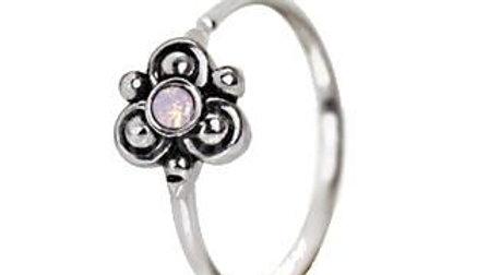 316L Stainless Steel Pink Ornate Flower Nose Hoop / Cartilage Earring