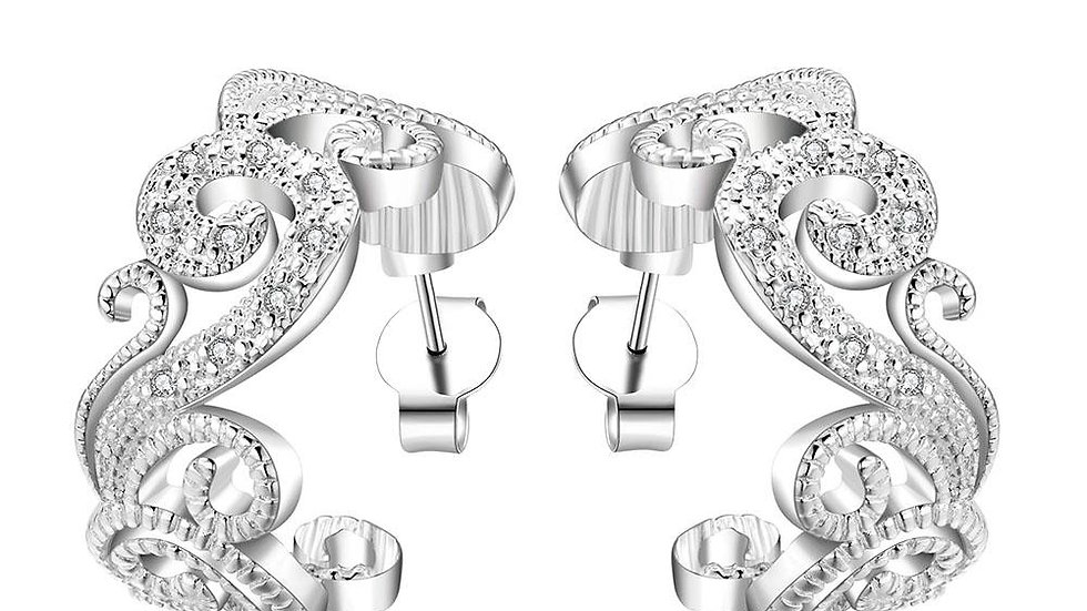 Stud Earring in 18K White Gold Plated