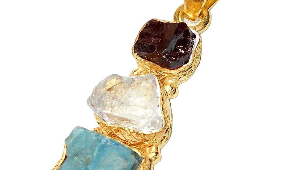 Zarna Apatite + Crystal + Garnet Pendant