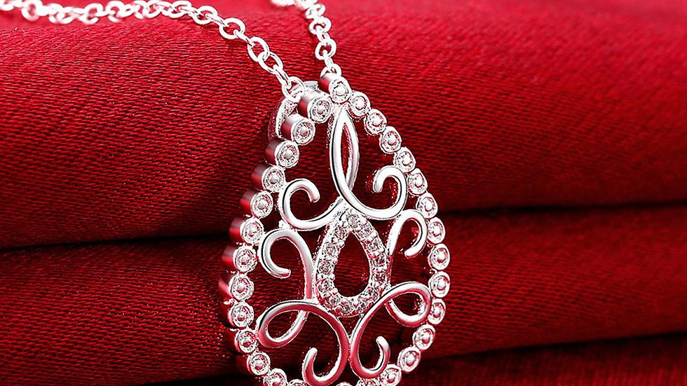 Teardrop Diamond Cut Necklace in 18K White Gold Plated with Swarovski