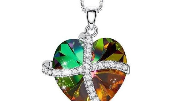 Rainbow Swarovski Sleek Heart Pav'e Lining Necklace in 14K White Gold