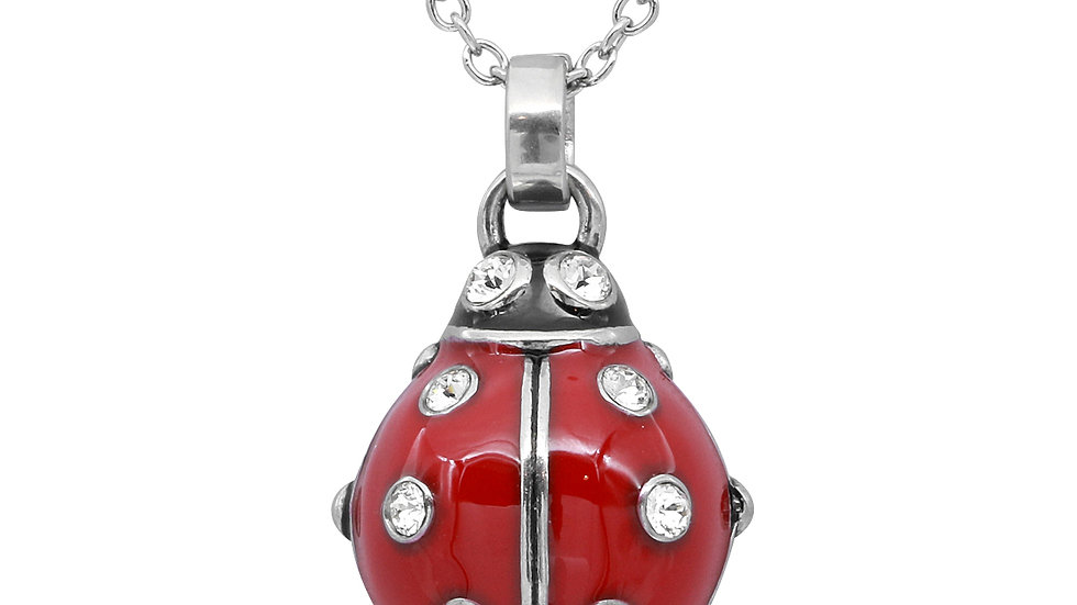 Ladybug Necklace with Crystals