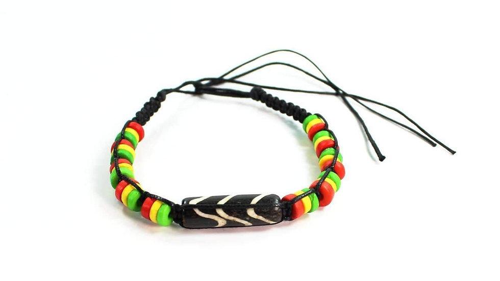 Chevron Pattern & Rasta Vibes Friendship Bracelet