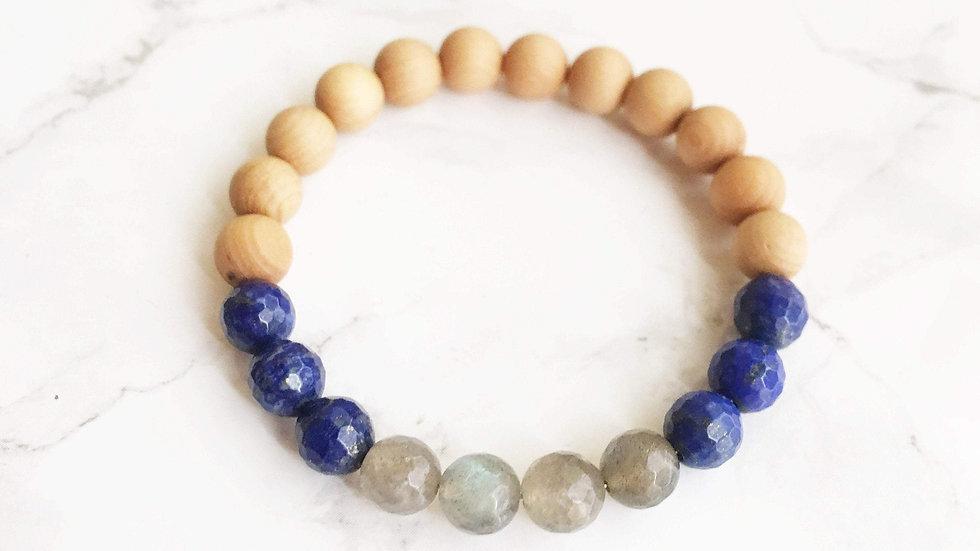 Labradorite, Lapis Lazuli & Sandalwood Bracelet