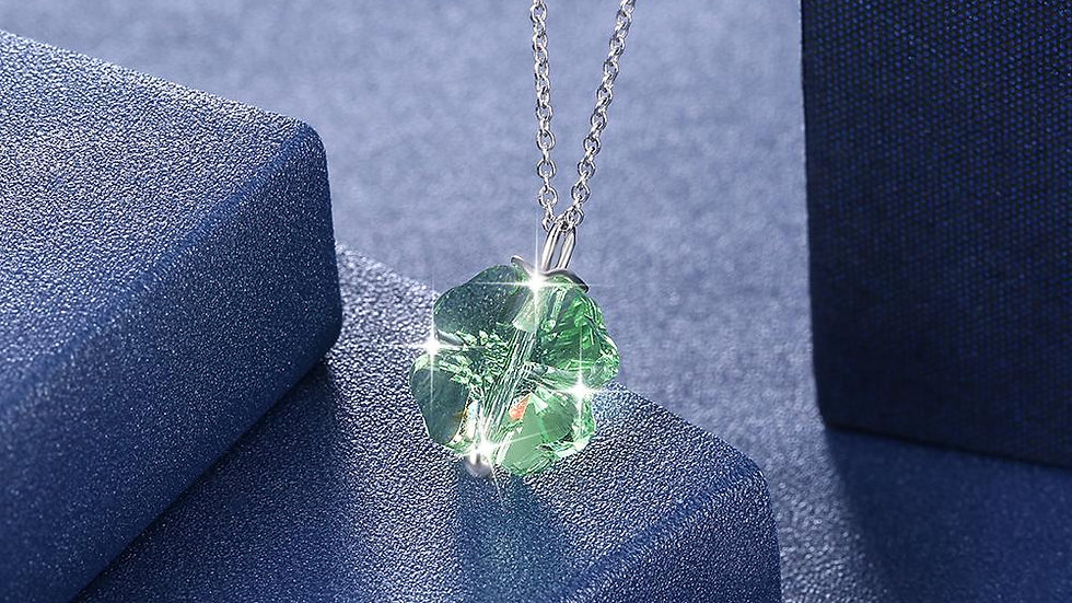 Green Crystal Clover Sterling Silver Necklace with Swarovski Crystals