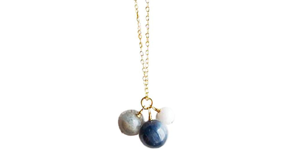 Kyanite, Labradorite and Moonstone Gold Filled Necklace