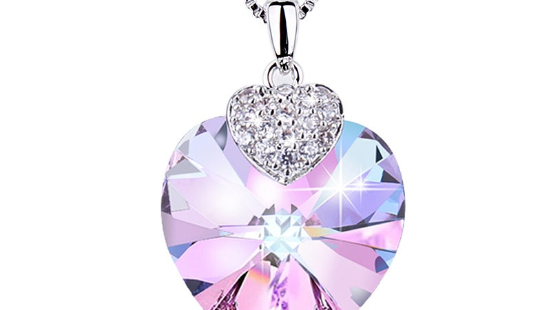 Embellished With Crystals From Swarovski Heart Shape Amethyst