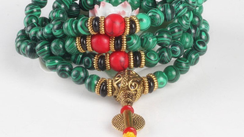 Sennier 8mm 108 Malachite Stone Beads Bracelet