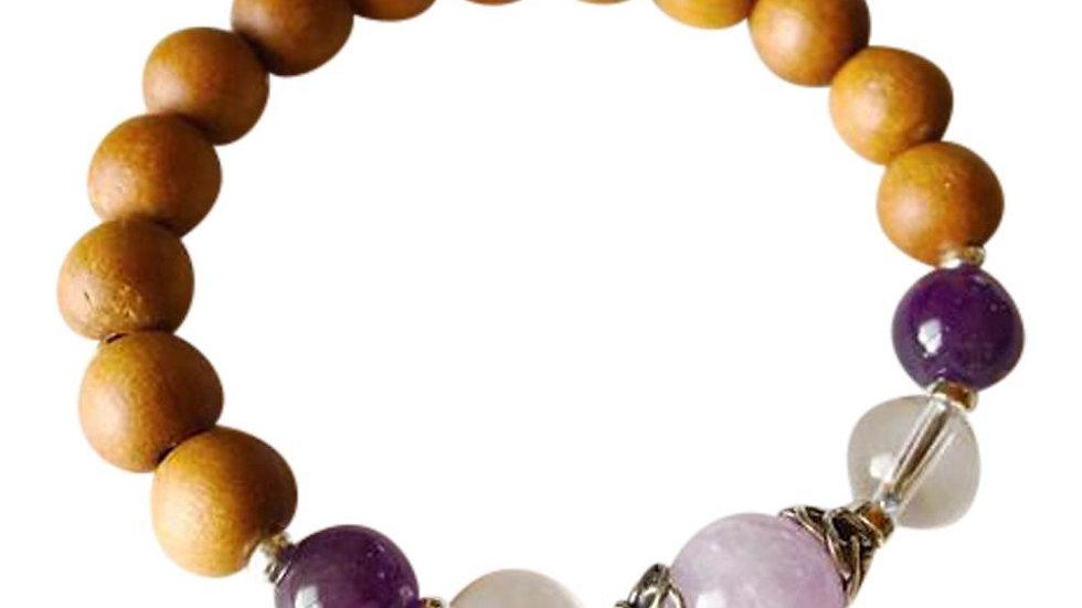Sandalwood, Amethyst, Cape Amethyst & Crystal Quartz Sterling Silver