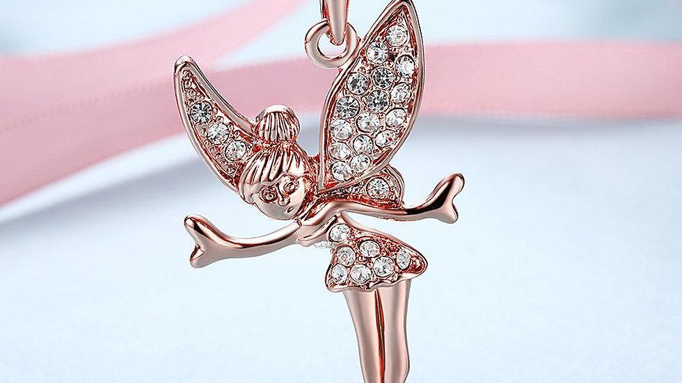 18K Rose Gold Plated Swarovski Elements Flying Angel Necklace