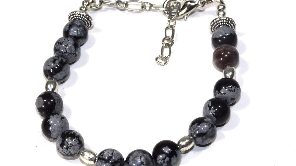 Snowflake Obsidian Yoga Bracelet