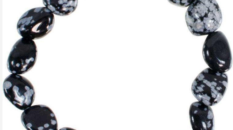 Genuine Tumbled Snowflake Obsidian Bracelet