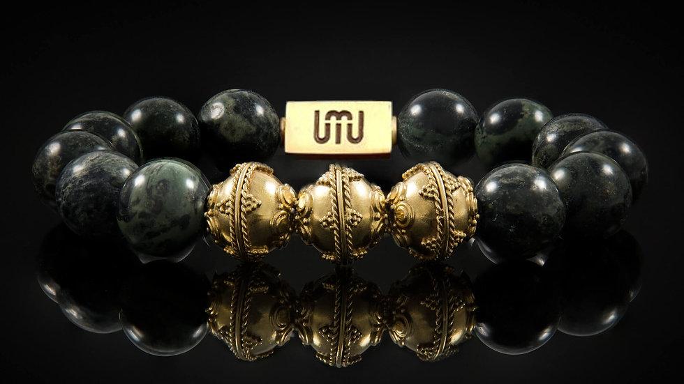 Kambaba Jasper & Gold Men's Bracelet