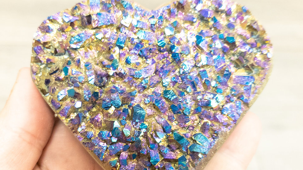 Rainbow Amethyst Druzy Heart-Large