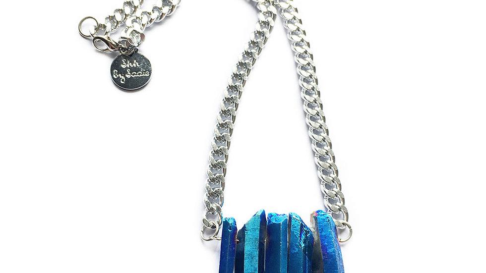Rocked Up Mini Crystal Quartz Necklace - Sapphire