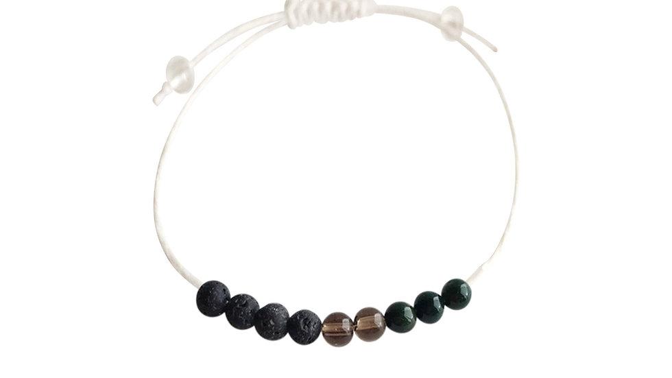 Bloodstone, Smoky Quartz & Lava Beads + Hemp + Choice of Anklet or